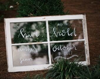 Window Pane Wedding Sign