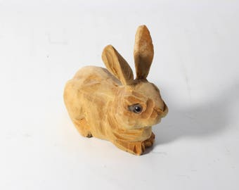 Miniature Wood Carved Bunny