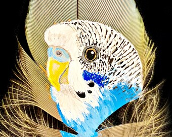 Hand Painted Budgie / Parakeet on Feather