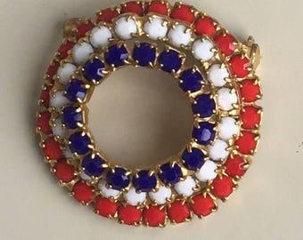 Vintage Red White & Blue Circle Brooch .