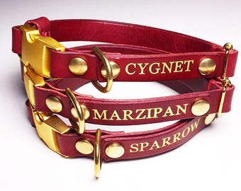 Leather Dog Collar Personalised Quick Release Name Custom Monogram Avaloncraft Henbury Dog Collar Mosto Wine Red