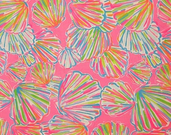 "Lilly Pulitzer SHELLABRATE ~ Jacquard Cotton Fabric ~ 18""x18"""