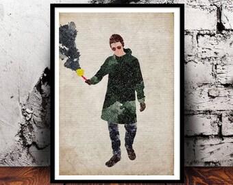 Liam Gallagher #2 Manchester Indie Britpop Music Oasis Beady Eye A4 print watercolour digital art wall art home decor watercolor smoke