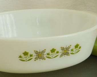 Vintage Meadow Green Fire King Casserole Dish, 433, 1 1/2 QT, Anchor Hocking Oval Baking Dish, Utility Serving Dish, Oven to Table, Old