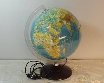 Rare globe en relief Grange Batelière lumineux. Vintage. World lamp. Earth. France