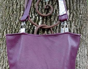 Warm Soft Plum Purple Leather Medium Bucket Cross Body Handbag Tote with Dotted Gray Yellow Cotton Print Lining, 2 Straps 2 Interior Pockets