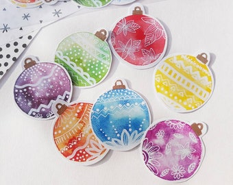 Christmas rainbow stickers - Bauble stickers - festive stationary - Xmas gift wrap - Card stickers -  Jam labels