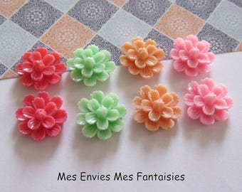 8 cabochons resin flowers 20mm base 18mm approx Mix R11