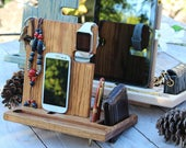 Valentines Day Gift for Men Gift for Groomsmen Gift for Boyfriend Gift for Husband Gift for Him OAK Docking Station iPhone iPad iWatch Stand
