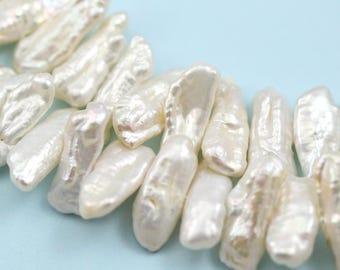 Ivory White Biwa Stick Middle-drilled Freshwater Pearls Beads Jewellery Making