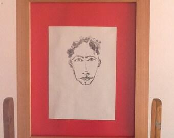Joven guapo 25,dibujo en tinta negra , hecho a mano sobre papel sin ácido