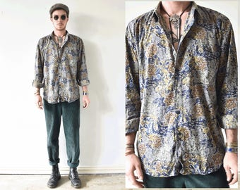 Vintage All Over Print Mens Button Up Shirt/ Classic Floral Shirt