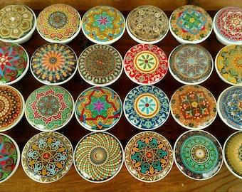 Oriental Mandala Wood Drawer Knobs on Cherry Wood Knob, Drawer Pull, Kitchen Knob, Size 1.5 x 1.18