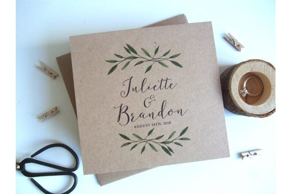 Rustic Wedding Invitation - Woodland Brown Kraft