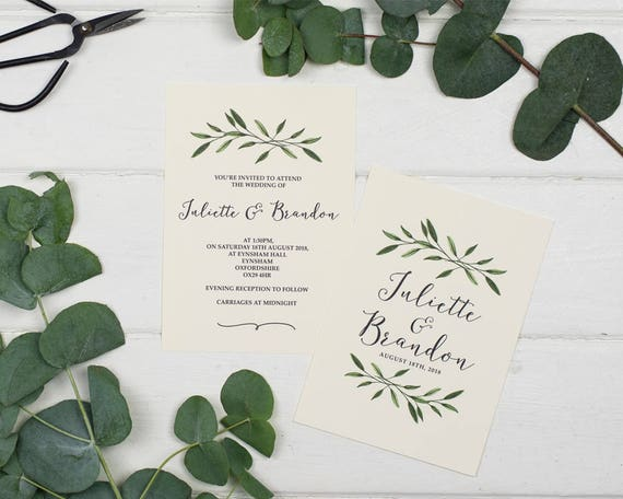 Natural Woodland Wedding Invitation Set Sample