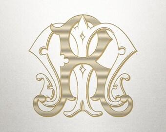 Interlocking Monogram Design - MR RM - Monogram Design - Vintage