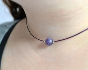 Amethyst Choker Cord Choker Purple Necklace Gemstone Choker Necklace Amethyst Purple Cord Necklace