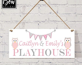 OWLS PLAYHOUSE SIGN, personlaise with your names, playrrom, bedroom, summerhouse, den, sign plaque, bunting,