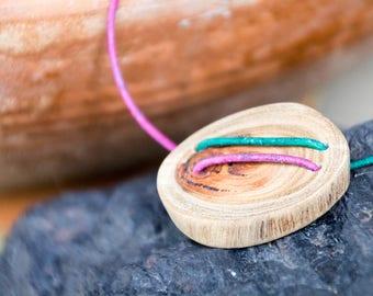 Handmade Unisex Reclaimed Wood Pendant & Adjustable Purple Teal Green Leather Cord Necklace Nature Jewelry OOAK Refashion Eco Boho Salvage