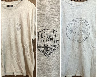 Polo Ralph Lauren Jeans Company Shirt Vintage Men's XL - Gray - Spell Out