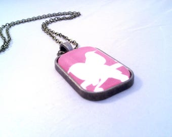 Necklace birds pink shade - rectangle Cabochon