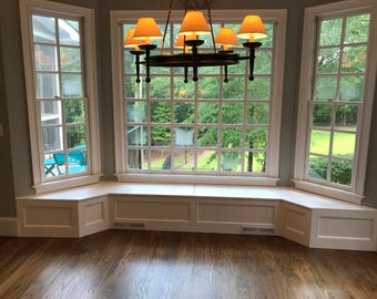 Kitchen dining room banquette bench customizable for Bay window nook bench