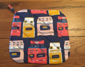 New Handmade Potholder Vintage Stove Fabric Hot Pad Kitchen Linens Home Decor for your Home Gift under 10 One of a Kind