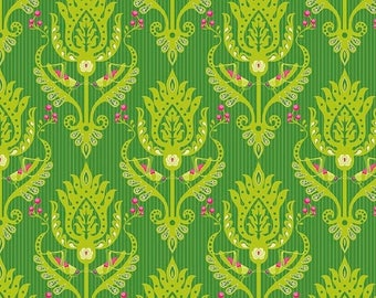 Sale Primavera Damask in Green Cotton Fabric by Patty Young for Riley Blake
