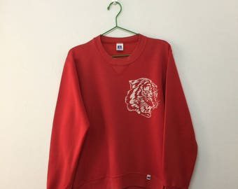 Vintage 80s Russel Athletic Tiger Graphic Crewneck Pullover Sweatshirt/Cotton Blend/Red/Size S