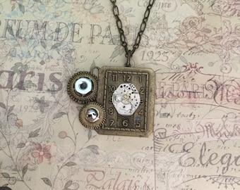 Steampunk Necklace Brass Clock Jewelry Watch Movement Necklace Hex Nut Domed Nut Jewelry Steampunk Jewelry Brass Gears