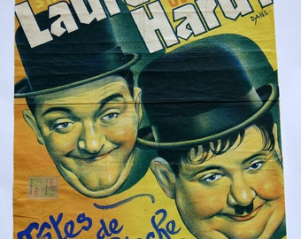 Vintage film poster - original Belgian movie poster for the Laurel and Hardy 1938 comedy Tetes de Pioche or Block Heads