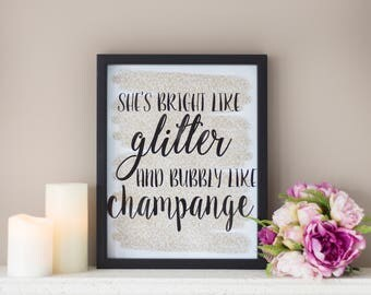 Framed Quote, Glitter, Quote, Framed Print, Typography