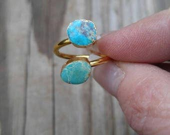 Adjustable Double Turquoise Ring