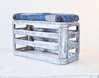 metal stool made from old milk crate