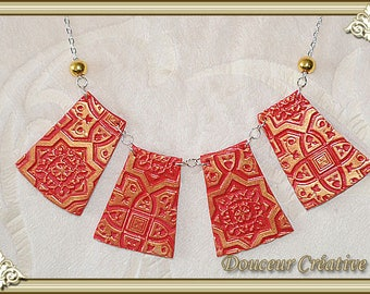 Necklace red gold embossed 103056 pattern