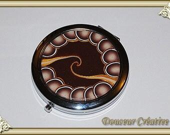 Golden beige Brown pattern 111008 Pocket mirror