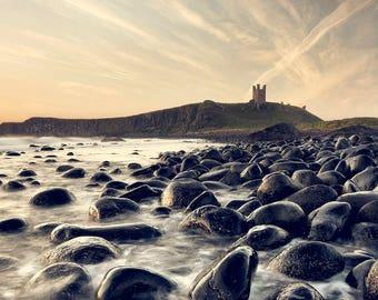 Castle photograph, coastal photograph, Castle print, coast and castle art, fine art photography,  coastal wall art, dunstanburgh castle.