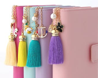 Planner Charms Tassels purple peach coral summer yellow beige sea green clips chain heart pineapple flamingo pearl flower clip tassel charm