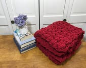 "Crimson Red Chunky Hand Knit Blanket 54"" X 25"" Child Toddler Baby Christmas Gift"