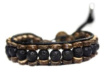 Bracelet classique B8 – noir – Pierre de lave – noix de coco-apprendre 624