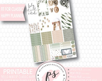 Hello Winter Mini Sampler Kit Printable Planner Stickers | JPG/PDF/Silhouette Cut File | For Use with Classic Happy Planner