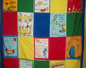Dr. Seuss Quilt hand tied handmade Toddler or Baby shower gift crib blanket