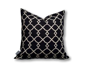 Casablanca Black Cushion Cover, Indoor Outdoor Cushion Cover, Black Cushion, Classic Cushion