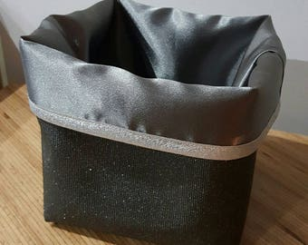 Basket storage reversible 14 x 14 faux leather and satin