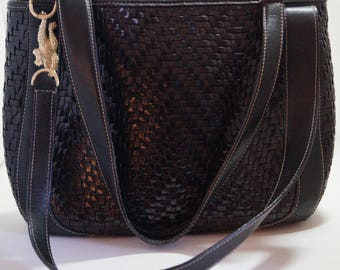 Barry Kieselstein Cord Leather Woven Black Handbag Gold Frog Embellishments