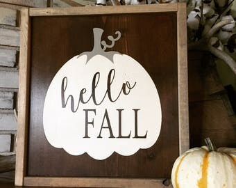 Hello Fall Wood Sign - Farmhouse - Rustic - Home Decor - Autumn - Fall - Pumpkin