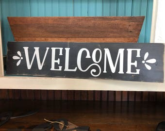 Welcome Wood Sign - Farmhouse Style - Home Decor - Entryway