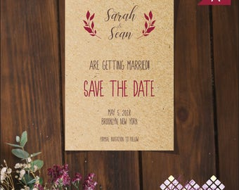 Printable Save the Date for Boho Wedding, Bohemian Design, Kraft Paper, DIY Wedding, Our Wedding Date, Save the Date, Digital Download