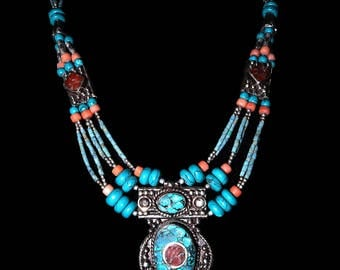 Handmade Turquoise and Coral Necklace