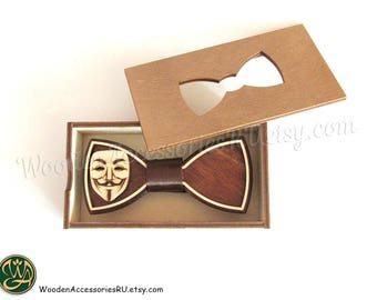 Wood bow tie Guy Fawkes mask wooden bowtie